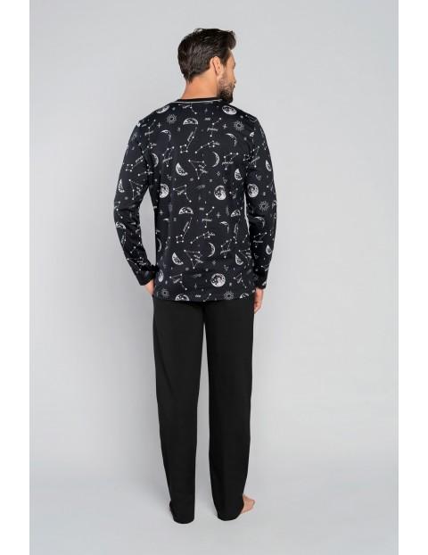Piżama męska z długim rękawem we wzorki - czarna