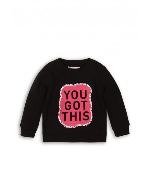Bluza dziewczęca dresowa- czarna z nadrukiem