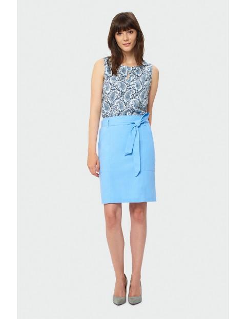 Lniana, niebieska spódnica damska z paskiem