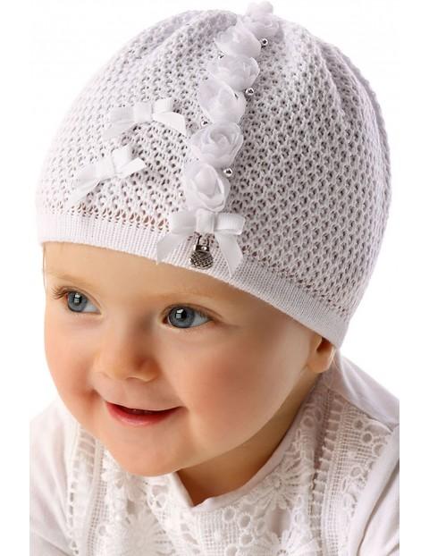 Czapka niemowlęca biała 5X34AW