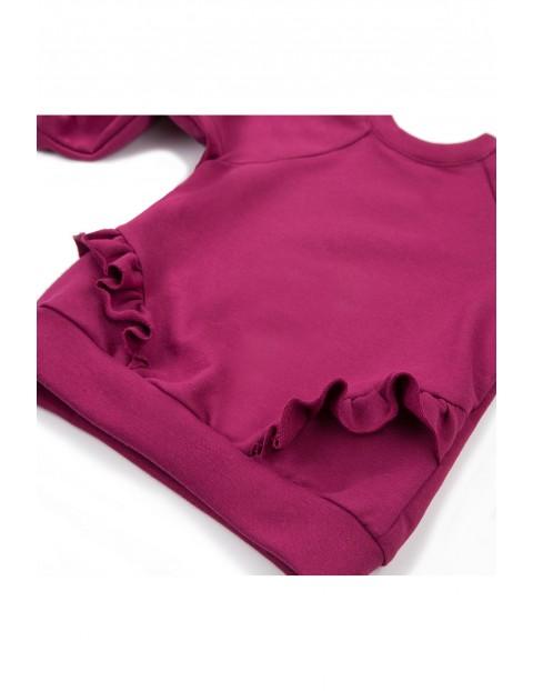 Bawełniana bluza z falbankami - bordowa