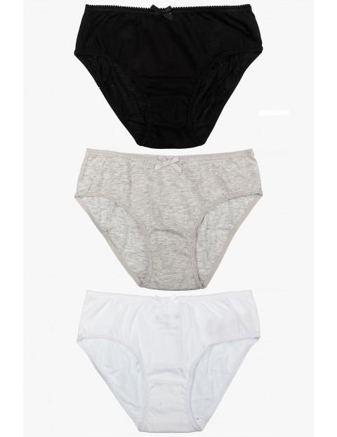 Majtki dziewczęce 3pak - czarny,szary,biały