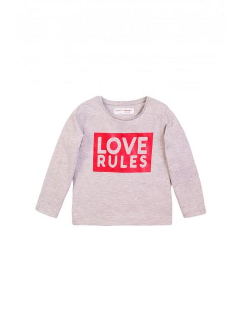 Bluzka dziewczeca z długim rękawem szara - Love Rules