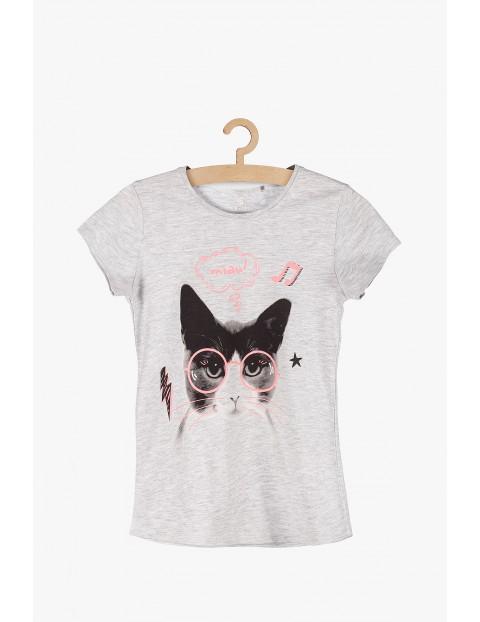 T-shirt dziewczęcy- szary z kotem