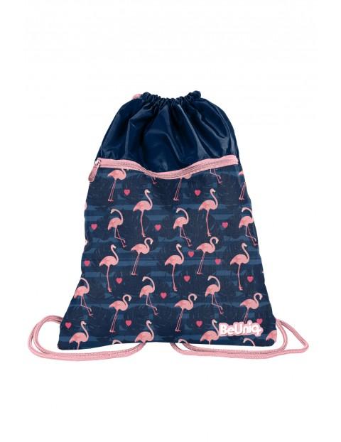 Worek na obuwie - granatowy w flamingi