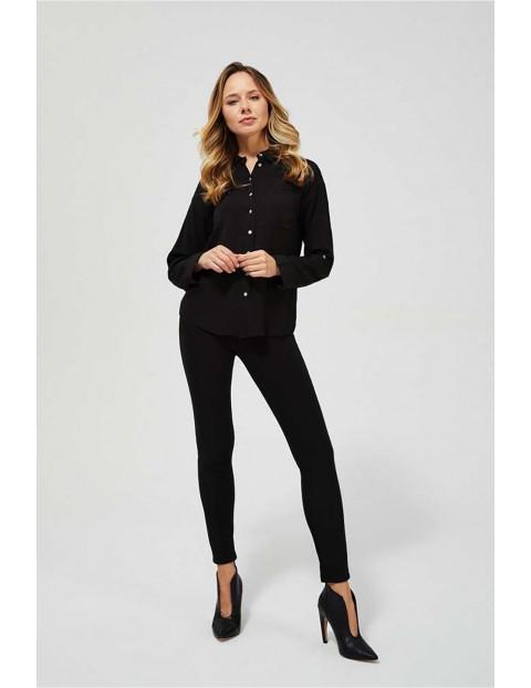 Koszula damska czarna gładka z kołnierzykiem - długi rękaw