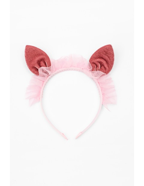 Opaska do włosów różowa z uszami