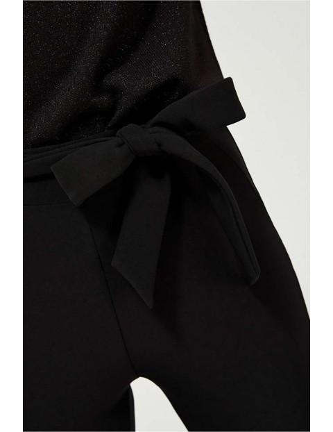 Leginsy damskie czarne z wiązaniem