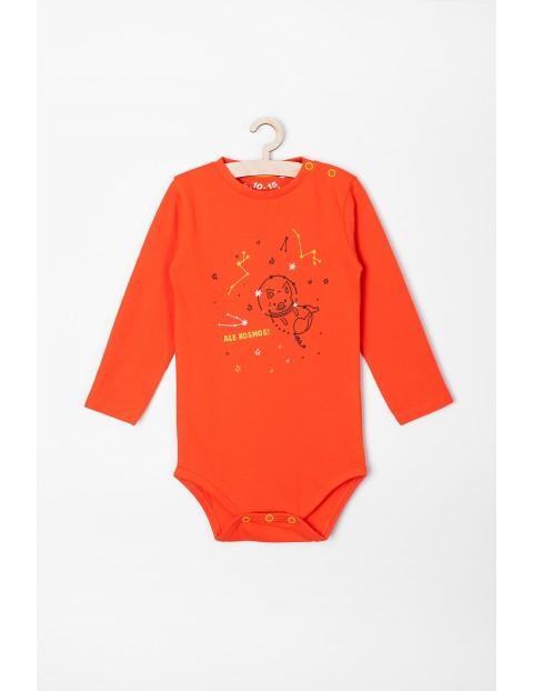 Body chłopięce z długim rękawem- pomarańczowe