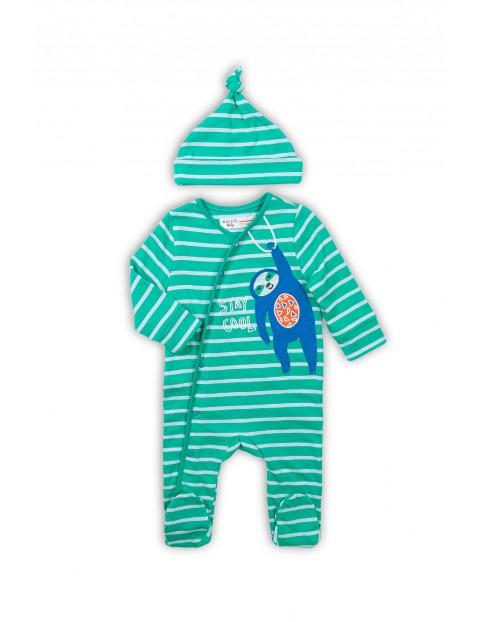 Pajac niemowlęcy bawełniany z czapeczką