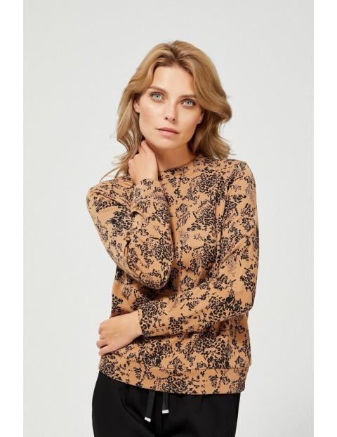Brązowa bluza damska w czarne wzory