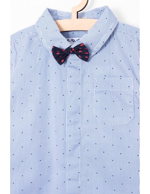 Elegancka koszula z kołnierzykiem i muchą- niebieska