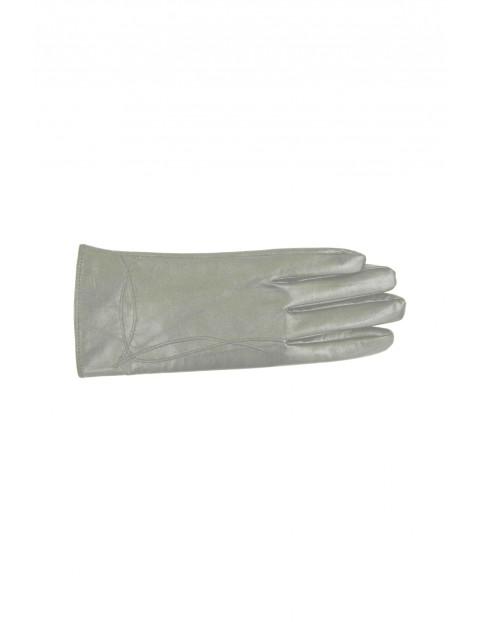 Rękawiczki damskie skórzane - szare