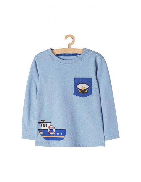 Bluzka dzianinowa dla chłopca- niebieska z morskimi motywami