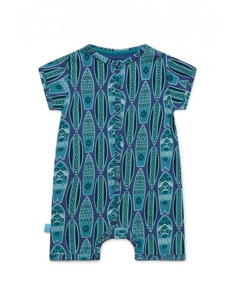 Rampers niemowlęcy niebieski we wzorki