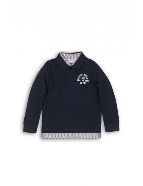Granatowa bluzka z koszulowym kołnierzykiem rozm 92/98
