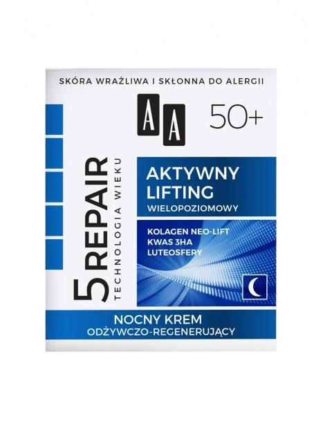 AA Technologia Wieku 5Repair 50+ Aktywny lifting nocny krem odżywczo-regenerujący 50 ml