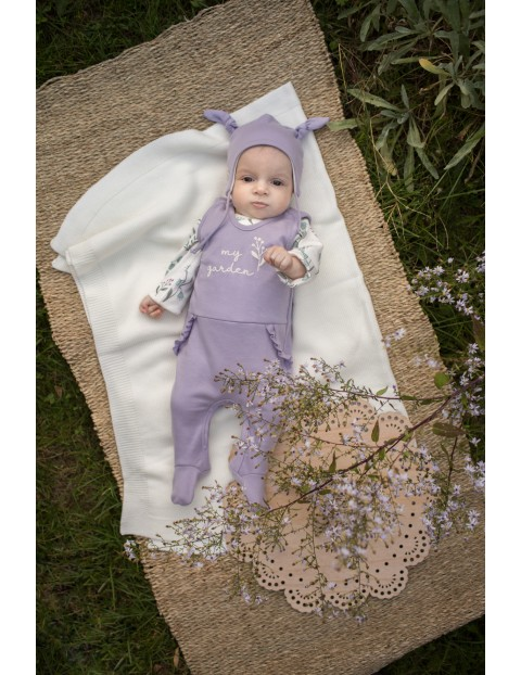 Bawełniane śpiochy dla dziewczynki w odcieniu fioletu My Garden
