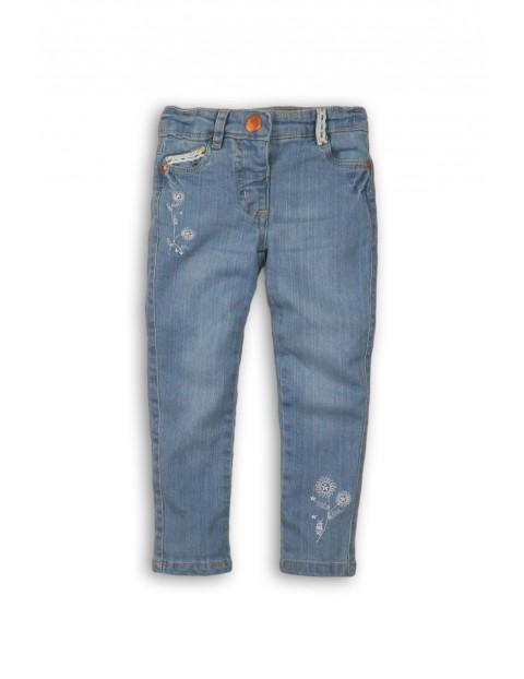 Spodnie dziewczęce jeansowe z haftowanymi kwiatkami