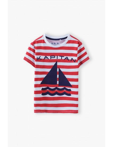 T-shirt chłopięcy w paski z napisem- Kapitan