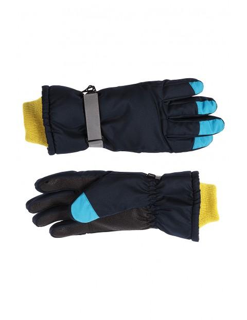 Rękawiczki narciarskie z elementami odblaskowymi