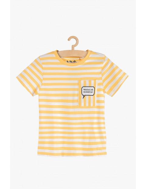 Koszulka chłopięca w biało- żółte paski