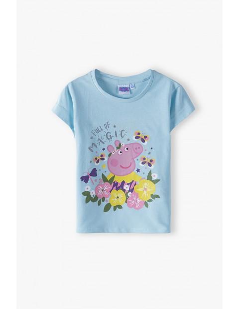T-shirt dziewczęcy Świnka Peppa- niebieski