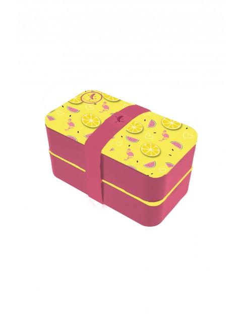 Pudełko śniadaniowe Blue Bananas  z przegródkam- Flamingi 11,5×18,5×10cm