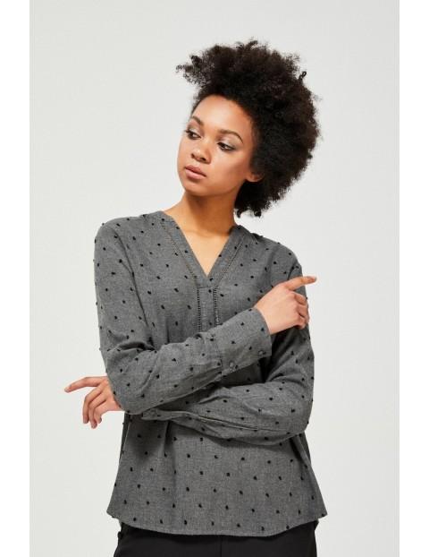 Szara wiskozowa koszula damska w czarne kropeczki z dekoltem w serek