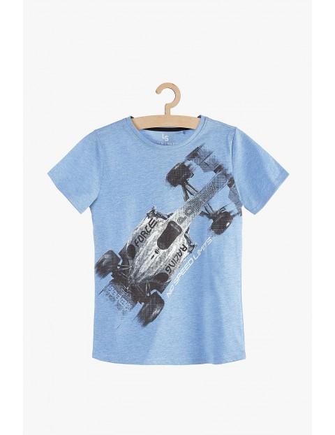 T-shirt chłopięcy niebieski z wyścigówką 100% bawełna