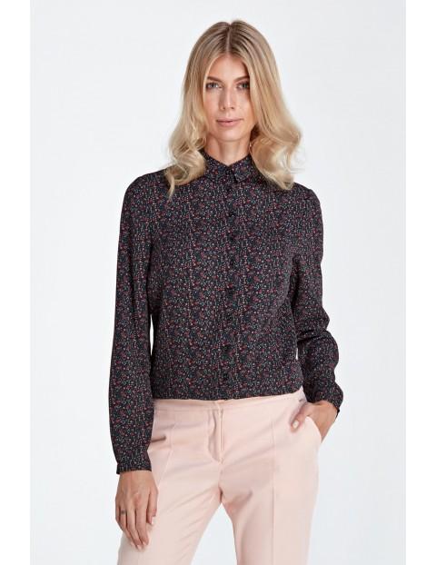 Koszula damska kołnierzykiem - czarna w kwiaty