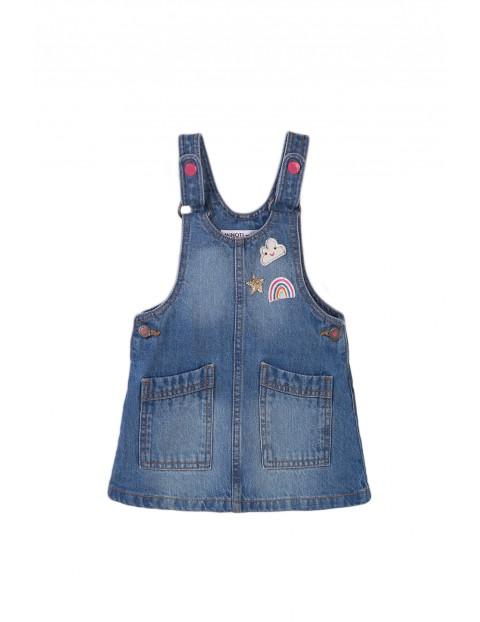 Sukienka ogrodniczka jeansowa z tęczą