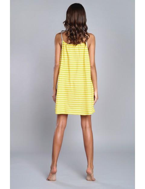 Koszula nocna damska w biało - żółte paski na cienkie ramiączka