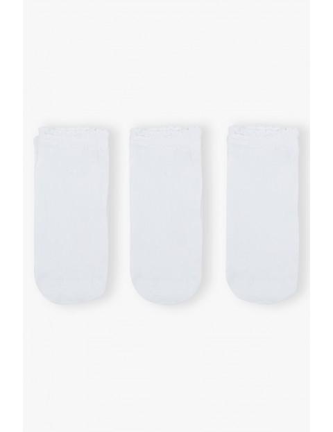 Białe cienkie skarpetki dla dziewczynki 3pak