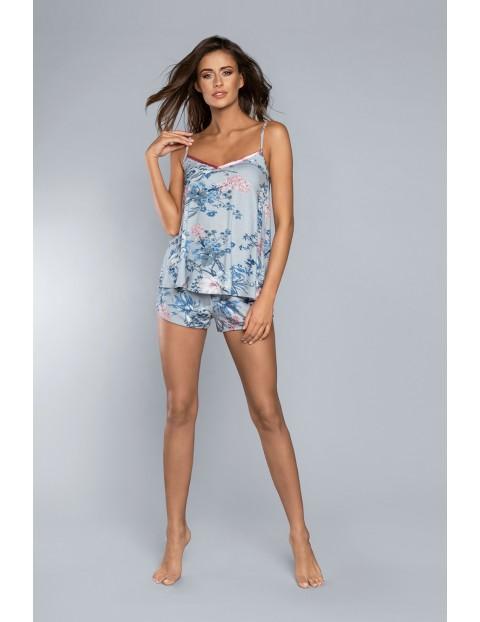 Dwuczęściowa piżama damska- koszulka na regulowanych ramiączkach i szorty