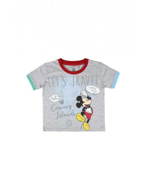 T-shirt z nadrukiem Mickey-szary
