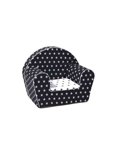 Biało czarny fotelik w białe gwiazdki