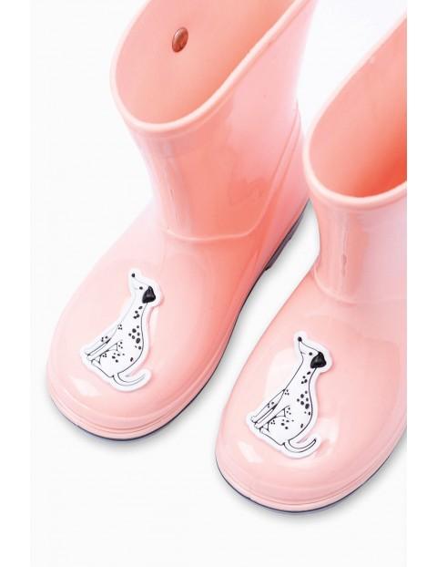 Kalosze dziewczęce z pieskiem - różowe