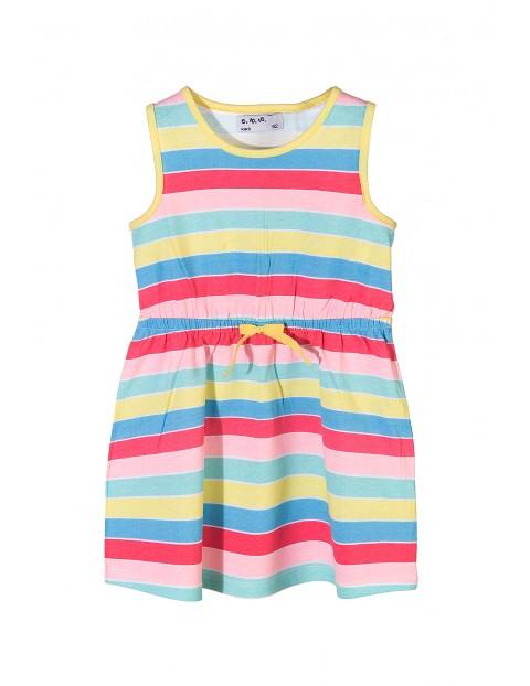 Sukienka dziewczęca na lato 100%bawełna-kolorowe paski