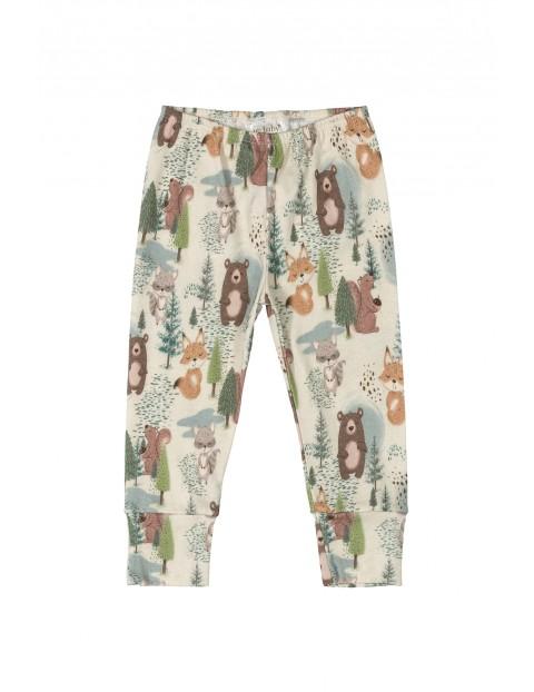 Spodnie niemowlęce dresowe w leśne zwierzaki