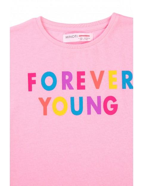 T-shirt dziewczęcy różowy z kolorowym napisem Forever young