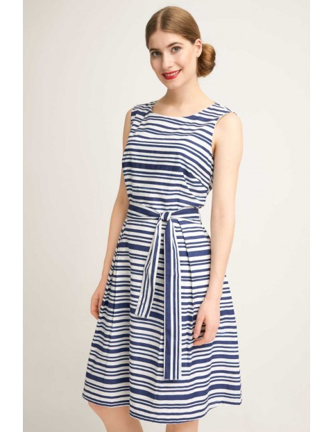 Sukienka damska w biało niebieskie paski