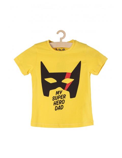 T-shirt chłopięcy żółty z napisem My super hero dad