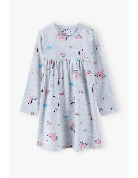 Sukienka niemowlęca w jednorożce - szara