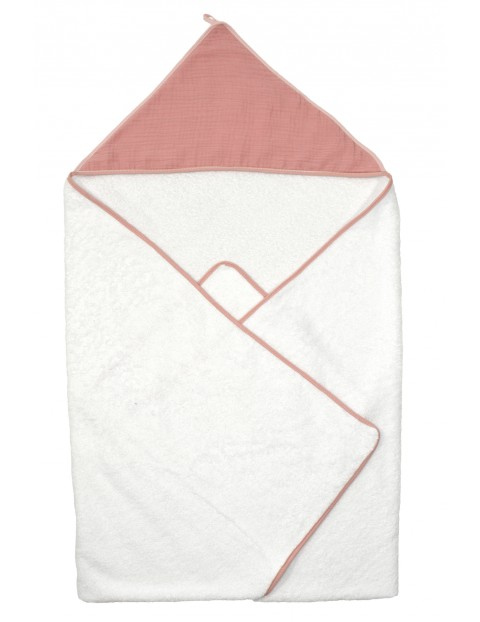 Okrycie kąpielowe dla dziecka 100x100cm - biało-różowe