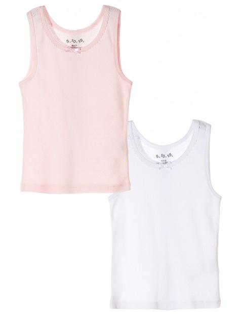 Podkoszulek dziewczęcy 2pak- biały i  różowy