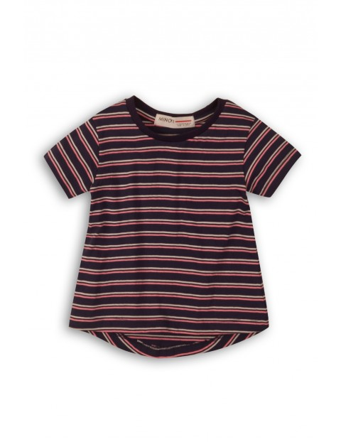 T-Shirt dziewczęcy w paski- granatowy