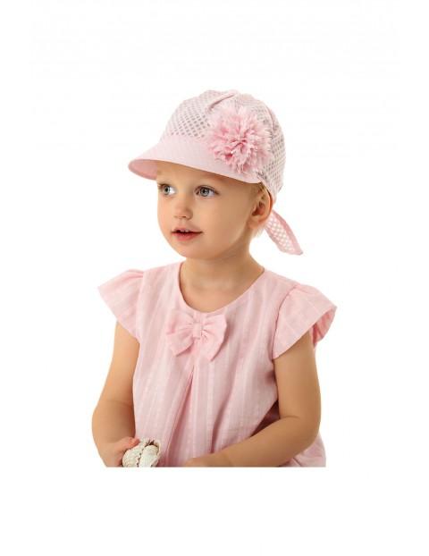 Czapka niemowlęca różowa z daszkiem