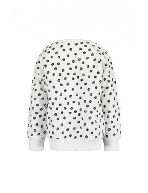 Bluzka dresowa biała w czarne kropki- Smile