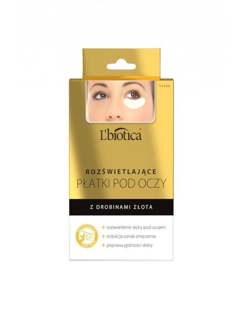 Rozświetlające płatki pod oczy L'biotica - Rozświetlenie z drobinami złota 6szt